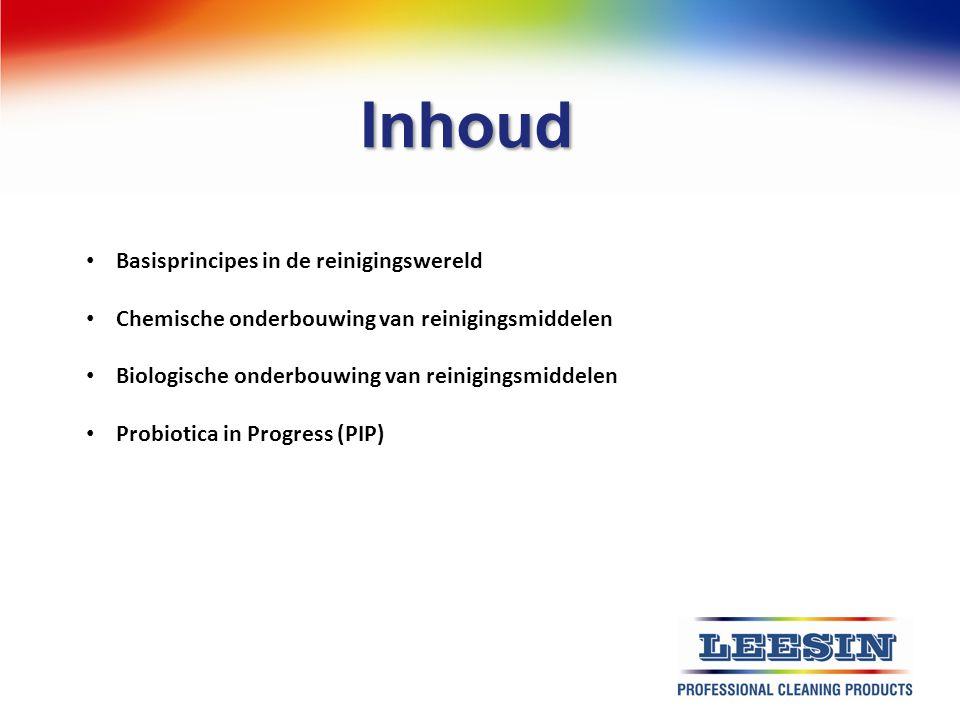 Inhoud Basisprincipes in de reinigingswereld Chemische onderbouwing van reinigingsmiddelen Biologische onderbouwing van reinigingsmiddelen Probiotica