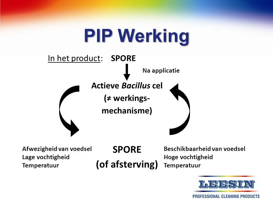 PIP Werking In het product: SPORE Actieve Bacillus cel (≠ werkings- mechanisme) SPORE (of afsterving) Afwezigheid van voedsel Lage vochtigheid Tempera