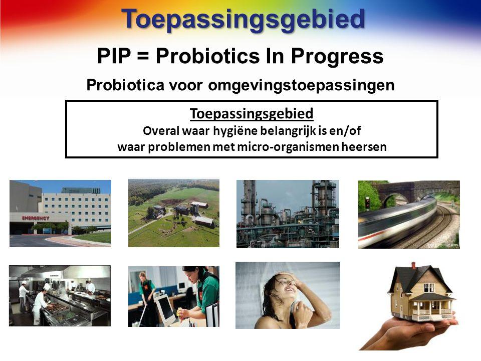 Toepassingsgebied PIP = Probiotics In Progress Probiotica voor omgevingstoepassingen Toepassingsgebied Overal waar hygiëne belangrijk is en/of waar pr