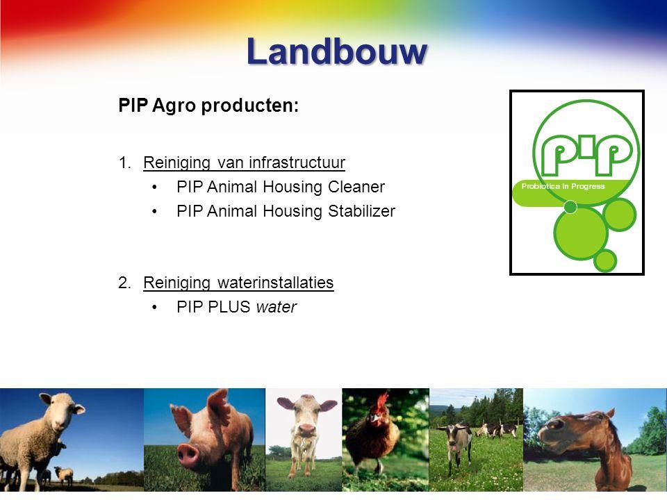 Landbouw PIP Agro producten: 1.Reiniging van infrastructuur PIP Animal Housing Cleaner PIP Animal Housing Stabilizer 2.Reiniging waterinstallaties PIP