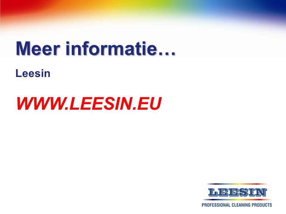 Meer informatie… Leesin WWW.LEESIN.EU