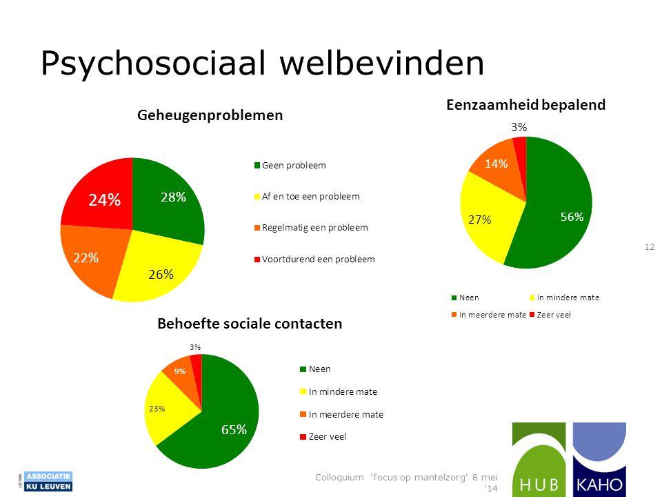Psychosociaal welbevinden Colloquium 'focus op mantelzorg' 8 mei '14 12