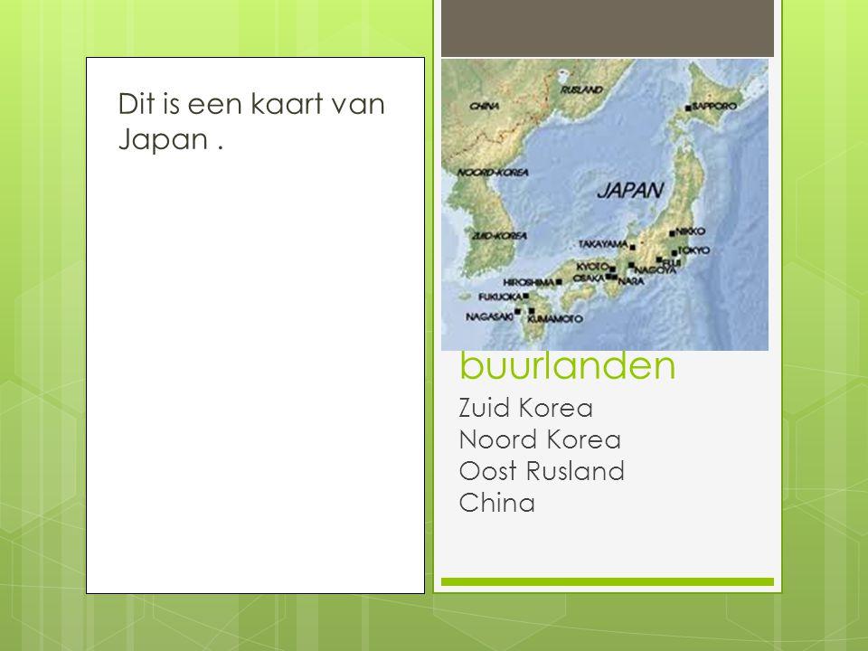Dit is een kaart van Japan. buurlanden Zuid Korea Noord Korea Oost Rusland China
