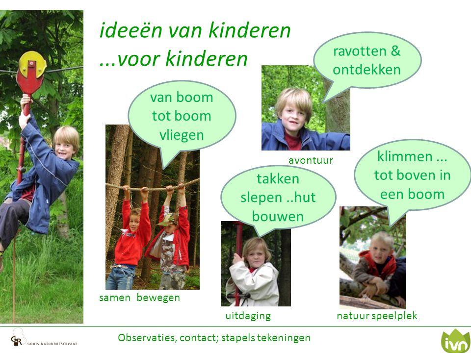 avontuur ideeën van kinderen...voor kinderen klimmen... tot boven in een boom takken slepen..hut bouwen Observaties, contact; stapels tekeningen van b