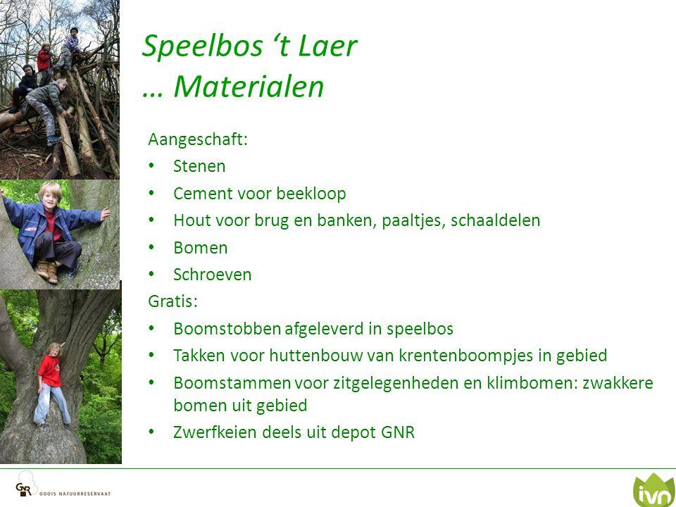 Speelbos 't Laer … Materialen Aangeschaft: Stenen Cement voor beekloop Hout voor brug en banken, paaltjes, schaaldelen Bomen Schroeven Gratis: Boomsto