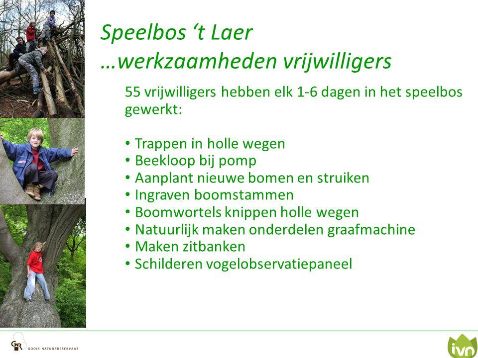 Speelbos 't Laer …werkzaamheden vrijwilligers 55 vrijwilligers hebben elk 1-6 dagen in het speelbos gewerkt: Trappen in holle wegen Beekloop bij pomp