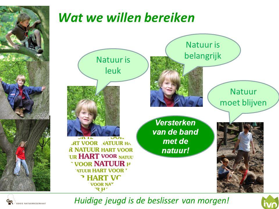 Wat we willen bereiken Natuur is leuk Natuur moet blijven Natuur is belangrijk Versterken van de band met de natuur! Huidige jeugd is de beslisser van