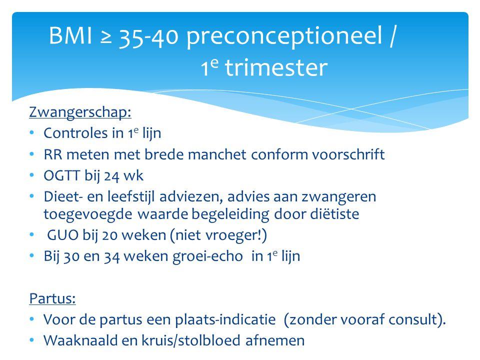 Zwangerschap: Controles in 1 e lijn RR meten met brede manchet conform voorschrift OGTT bij 24 wk Dieet- en leefstijl adviezen, advies aan zwangeren t
