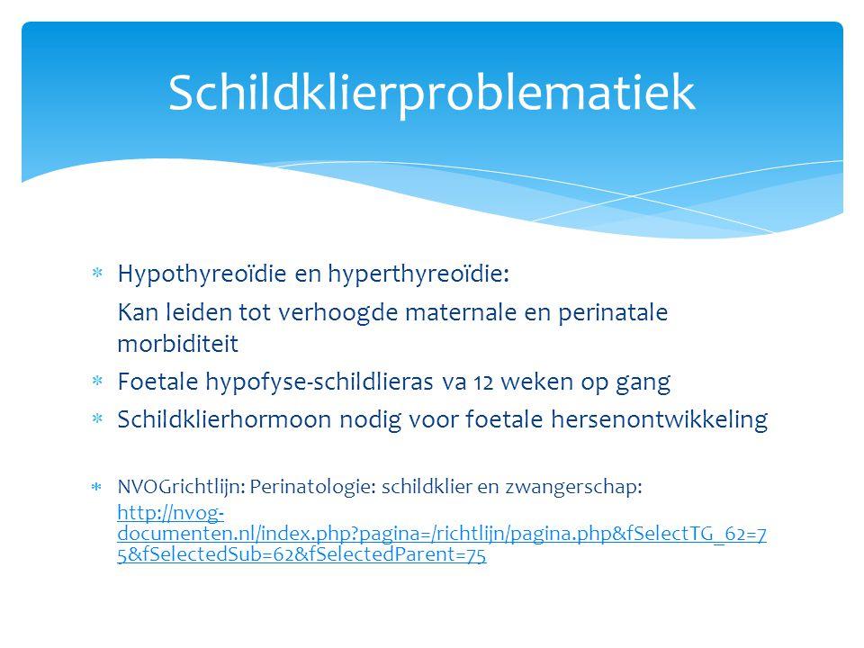 Schildklierproblematiek  Hypothyreoïdie en hyperthyreoïdie: Kan leiden tot verhoogde maternale en perinatale morbiditeit  Foetale hypofyse-schildlie