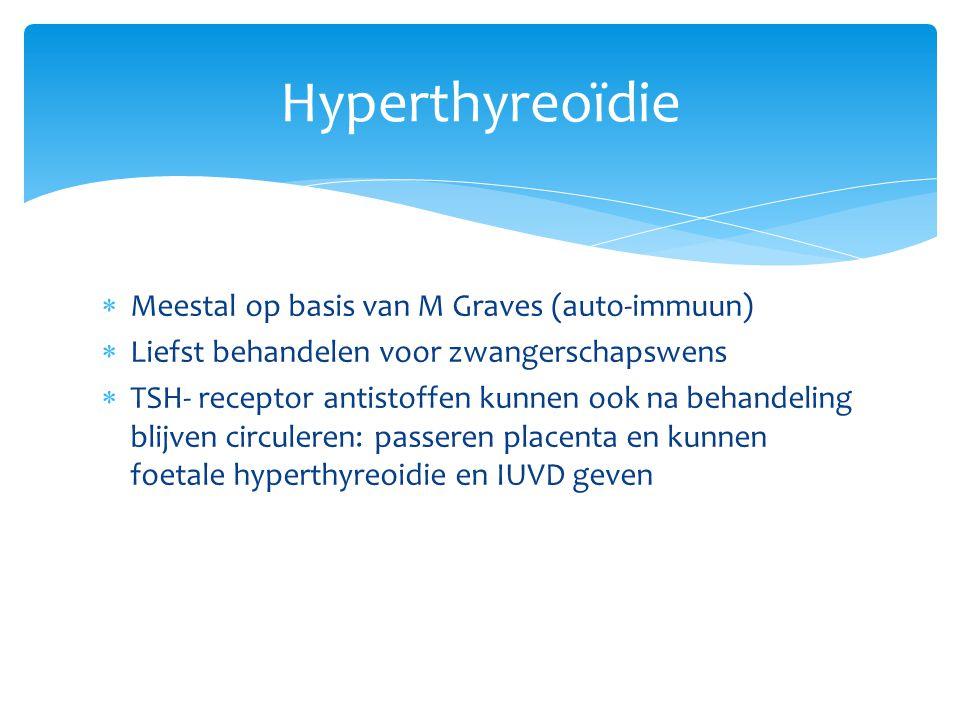 Hyperthyreoïdie  Meestal op basis van M Graves (auto-immuun)  Liefst behandelen voor zwangerschapswens  TSH- receptor antistoffen kunnen ook na beh