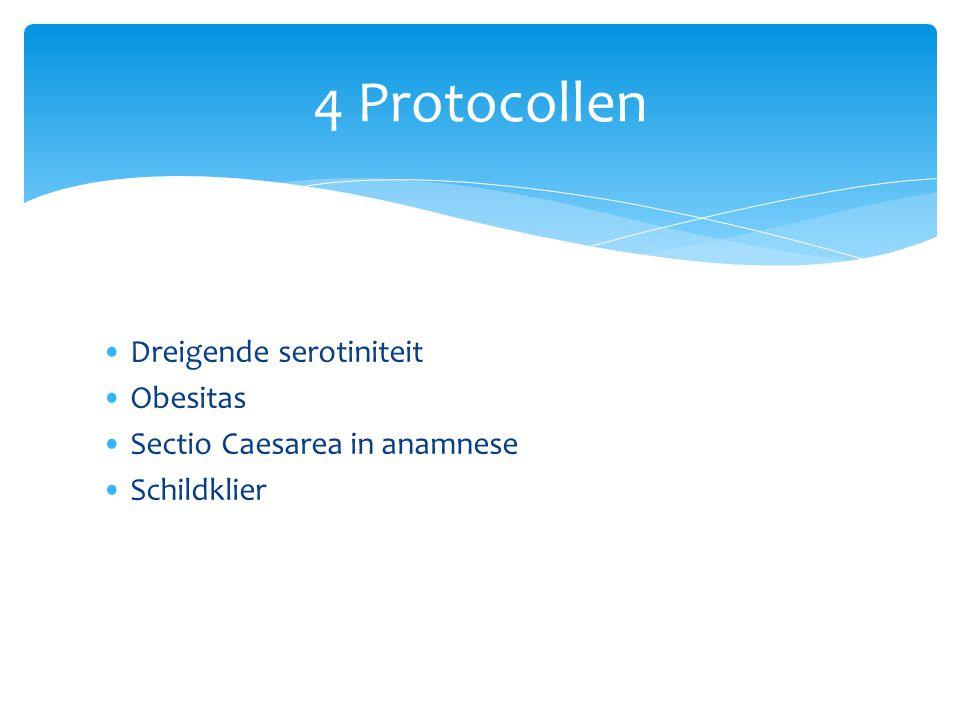 Dreigende serotiniteit Obesitas Sectio Caesarea in anamnese Schildklier 4 Protocollen