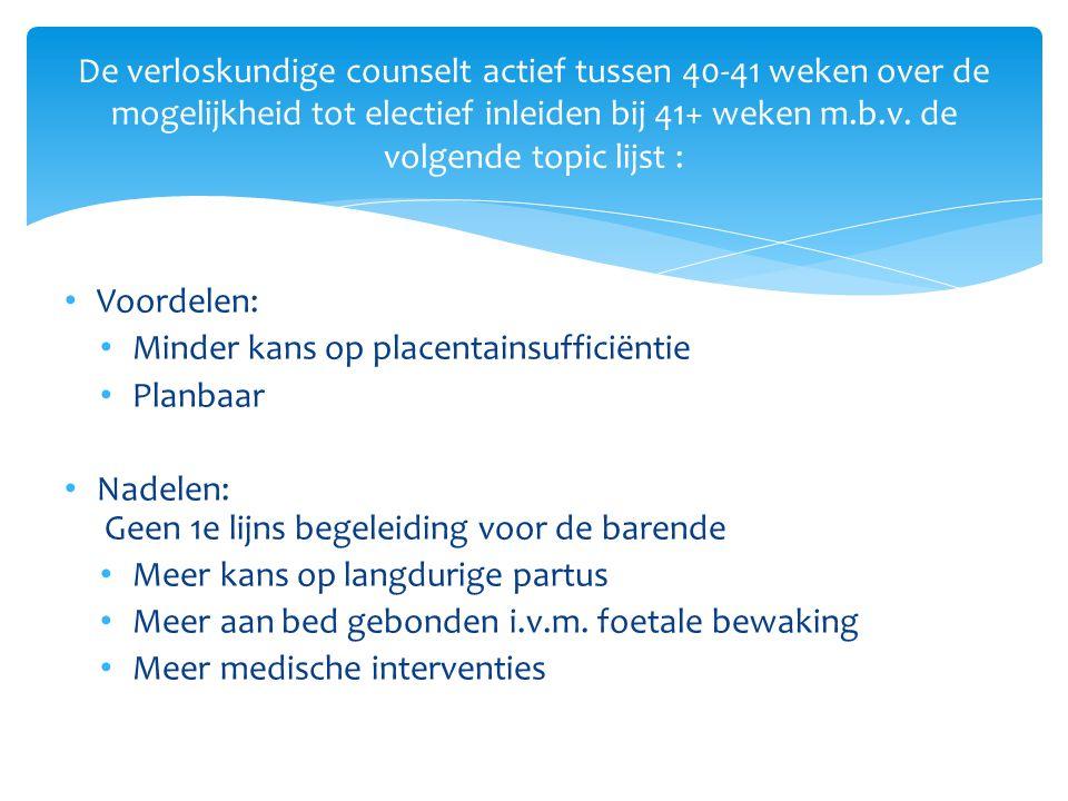 Voordelen: Minder kans op placentainsufficiëntie Planbaar Nadelen: Geen 1e lijns begeleiding voor de barende Meer kans op langdurige partus Meer aan b