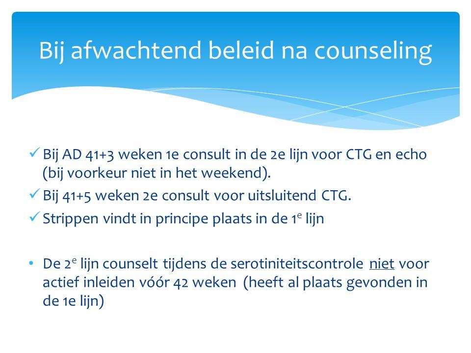 Bij AD 41+3 weken 1e consult in de 2e lijn voor CTG en echo (bij voorkeur niet in het weekend). Bij 41+5 weken 2e consult voor uitsluitend CTG. Stripp