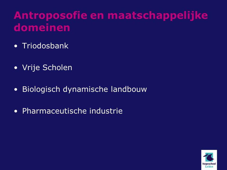 Antroposofie en maatschappelijke domeinen Triodosbank Vrije Scholen Biologisch dynamische landbouw Pharmaceutische industrie