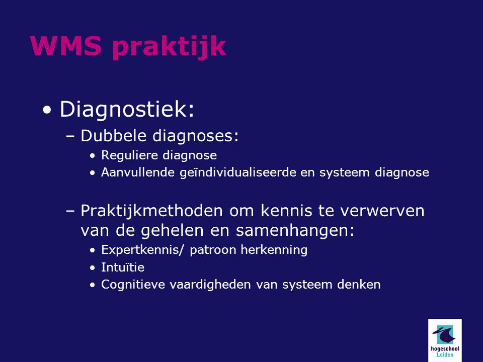 WMS praktijk Diagnostiek: –Dubbele diagnoses: Reguliere diagnose Aanvullende geïndividualiseerde en systeem diagnose –Praktijkmethoden om kennis te verwerven van de gehelen en samenhangen: Expertkennis/ patroon herkenning Intuïtie Cognitieve vaardigheden van systeem denken