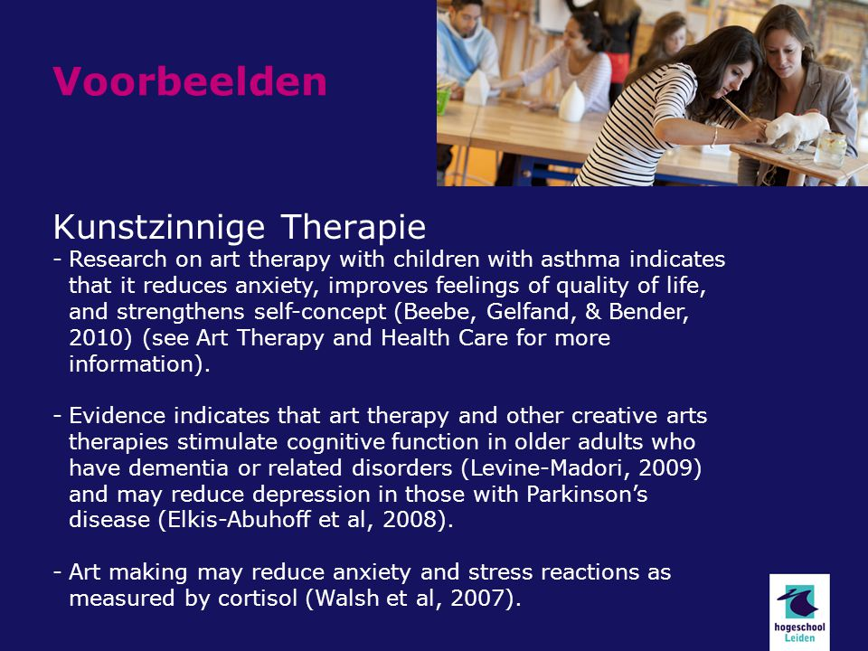 Voorbeelden Kunstzinnige Therapie -Research on art therapy with children with asthma indicates that it reduces anxiety, improves feelings of quality of life, and strengthens self-concept (Beebe, Gelfand, & Bender, 2010) (see Art Therapy and Health Care for more information).