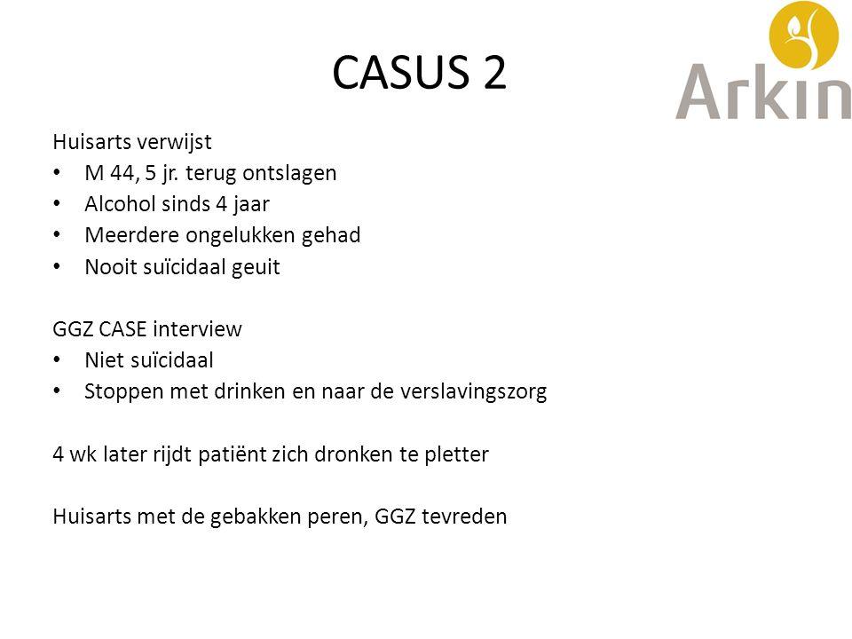CASUS 2 Huisarts verwijst M 44, 5 jr. terug ontslagen Alcohol sinds 4 jaar Meerdere ongelukken gehad Nooit suïcidaal geuit GGZ CASE interview Niet suï