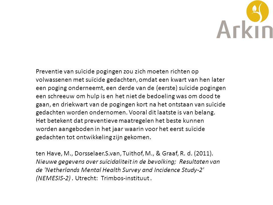 Preventie van suïcide pogingen zou zich moeten richten op volwassenen met suïcide gedachten, omdat een kwart van hen later een poging onderneemt, een