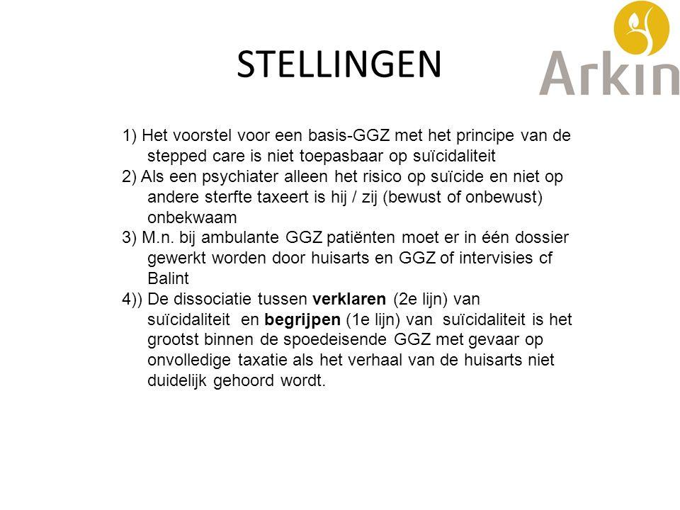 STELLINGEN 1) Het voorstel voor een basis-GGZ met het principe van de stepped care is niet toepasbaar op suïcidaliteit 2) Als een psychiater alleen he
