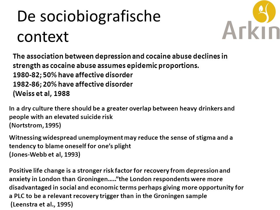 De sociobiografische context The association between depression and cocaine abuse declines in strength as cocaine abuse assumes epidemic proportions.