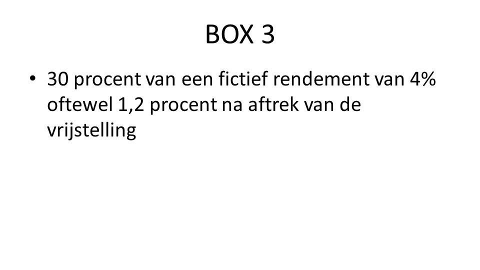 BOX 3 30 procent van een fictief rendement van 4% oftewel 1,2 procent na aftrek van de vrijstelling