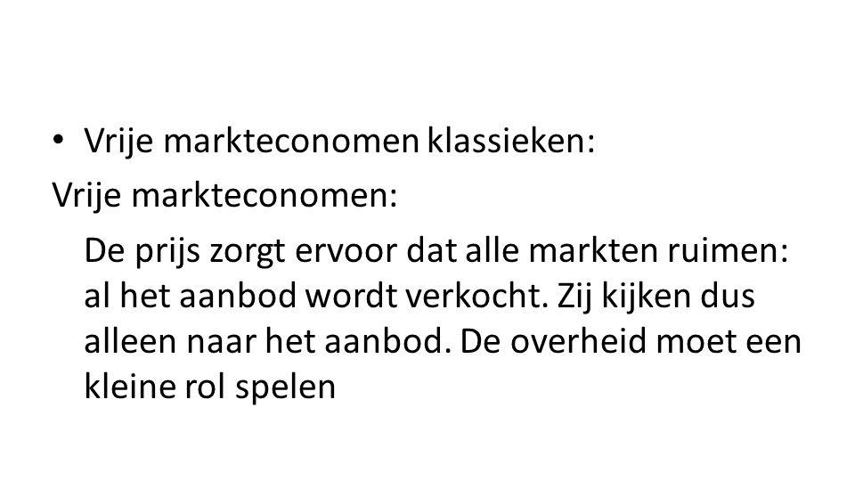 Vrije markteconomen klassieken: Vrije markteconomen: De prijs zorgt ervoor dat alle markten ruimen: al het aanbod wordt verkocht.