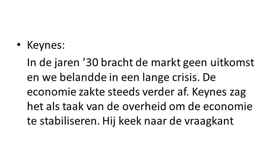 Keynes: In de jaren '30 bracht de markt geen uitkomst en we belandde in een lange crisis.