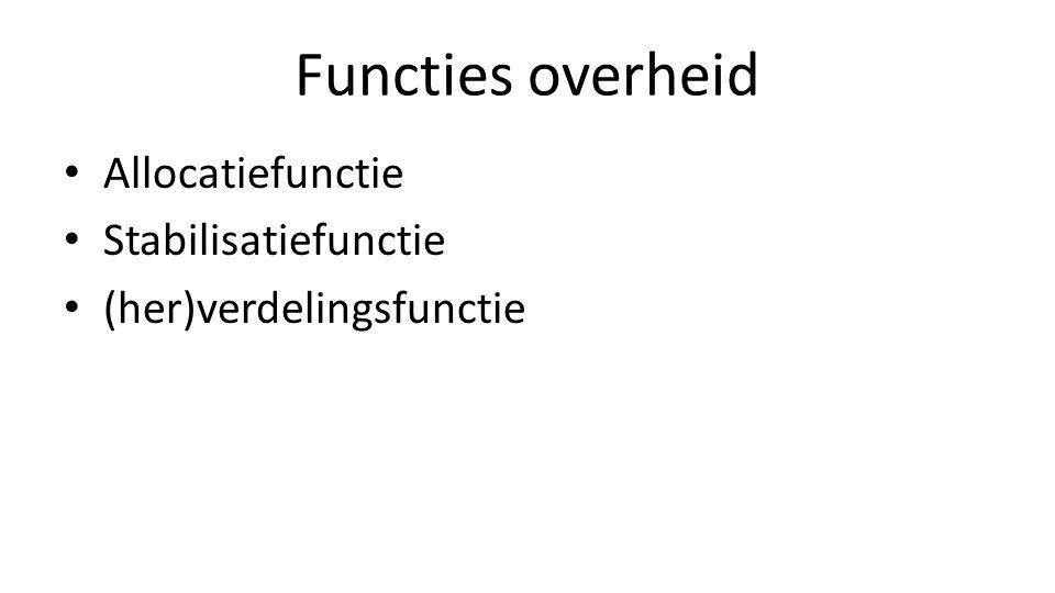 Functies overheid Allocatiefunctie Stabilisatiefunctie (her)verdelingsfunctie