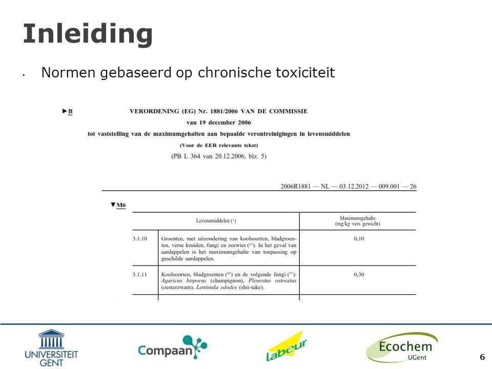 Doel Onderzoek naar mogelijke impact van milieuvervuiling op kwaliteit van landbouwgewassen geproduceerd in Gentse stadsomgeving Focus op zware metalen Focus op atmosferische depositie (kweek in bakken op potgrond) 7