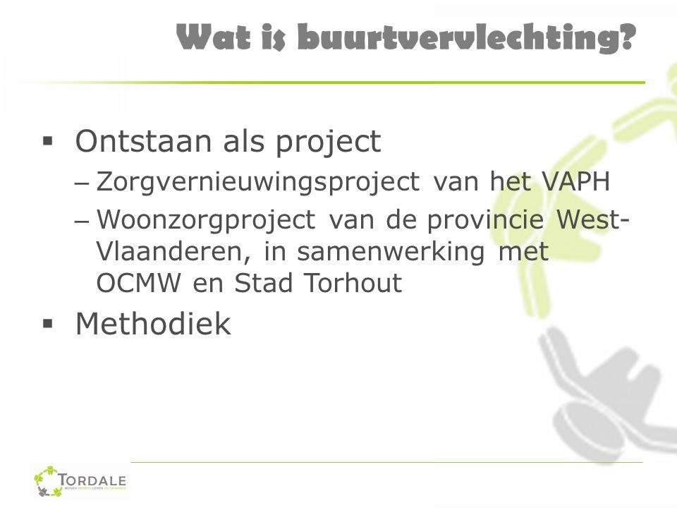 Wat is buurtvervlechting?  Ontstaan als project – Zorgvernieuwingsproject van het VAPH – Woonzorgproject van de provincie West- Vlaanderen, in samenw