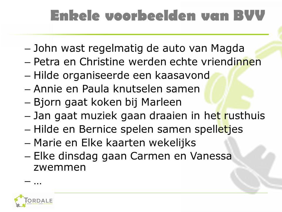 Enkele voorbeelden van BVV – John wast regelmatig de auto van Magda – Petra en Christine werden echte vriendinnen – Hilde organiseerde een kaasavond –