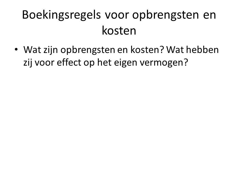Boekingsregels voor opbrengsten en kosten Wat zijn opbrengsten en kosten.
