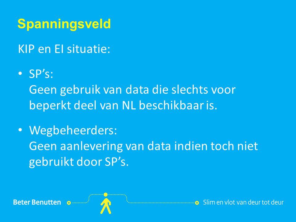 Titel hier tekst hier Spanningsveld KIP en EI situatie: SP's: Geen gebruik van data die slechts voor beperkt deel van NL beschikbaar is. Wegbeheerders