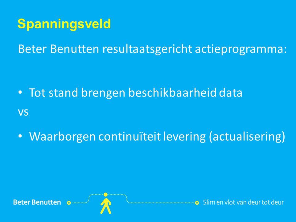 Titel hier tekst hier Spanningsveld Beter Benutten resultaatsgericht actieprogramma: Tot stand brengen beschikbaarheid data vs Waarborgen continuïteit