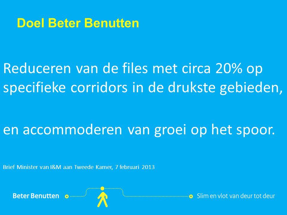 Titel hier tekst hier Doel Beter Benutten Reduceren van de files met circa 20% op specifieke corridors in de drukste gebieden, en accommoderen van gro