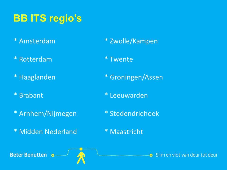 Titel hier tekst hier BB ITS regio's * Amsterdam* Zwolle/Kampen * Rotterdam* Twente * Haaglanden* Groningen/Assen * Brabant* Leeuwarden * Arnhem/Nijmegen* Stedendriehoek * Midden Nederland* Maastricht