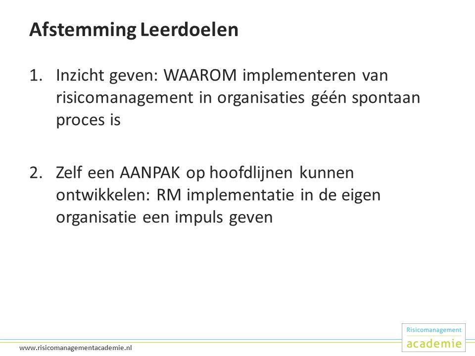 10 www.risicomanagementacademie.nl Afstemming Leerdoelen 1.Inzicht geven: WAAROM implementeren van risicomanagement in organisaties géén spontaan proces is 2.Zelf een AANPAK op hoofdlijnen kunnen ontwikkelen: RM implementatie in de eigen organisatie een impuls geven