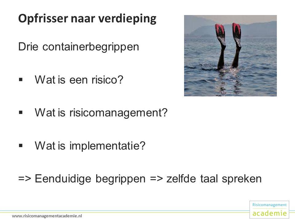 12 www.risicomanagementacademie.nl Opfrisser naar verdieping Drie containerbegrippen  Wat is een risico.