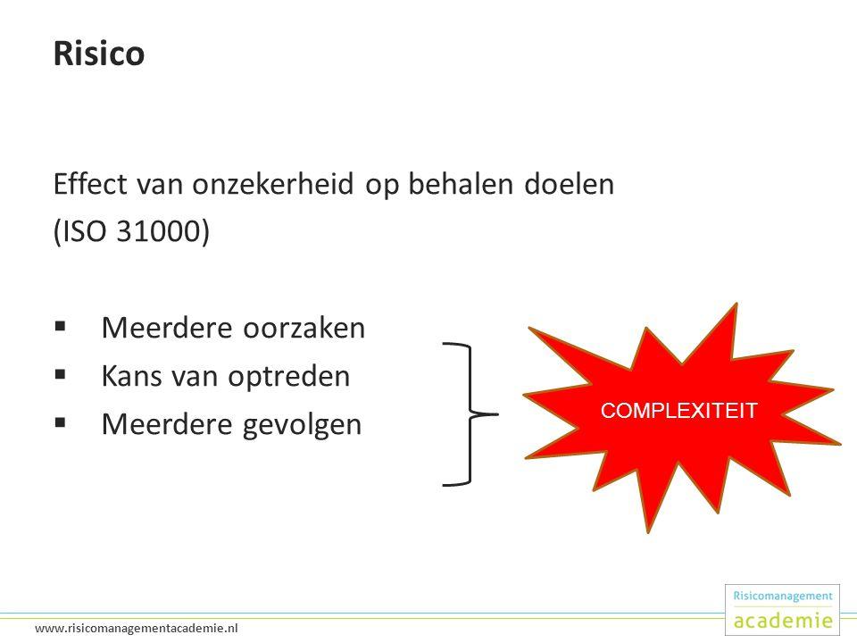 13 www.risicomanagementacademie.nl Risico Effect van onzekerheid op behalen doelen (ISO 31000)  Meerdere oorzaken  Kans van optreden  Meerdere gevolgen COMPLEXITEIT