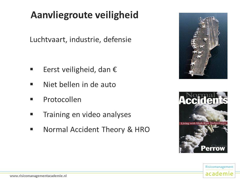 21 www.risicomanagementacademie.nl Aanvliegroute veiligheid Luchtvaart, industrie, defensie  Eerst veiligheid, dan €  Niet bellen in de auto  Protocollen  Training en video analyses  Normal Accident Theory & HRO