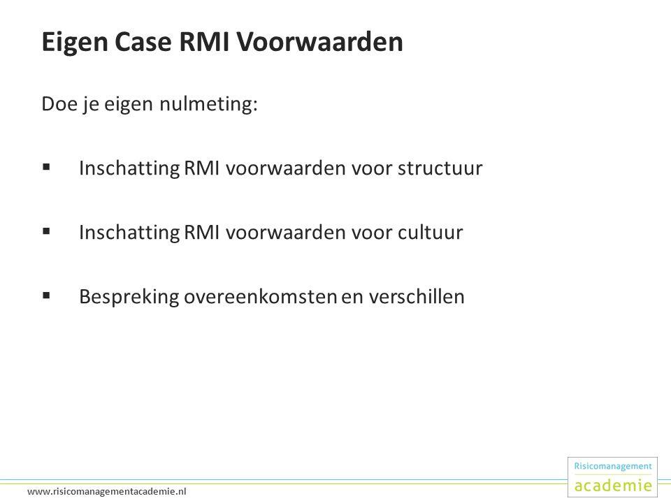 30 www.risicomanagementacademie.nl Eigen Case RMI Voorwaarden Doe je eigen nulmeting:  Inschatting RMI voorwaarden voor structuur  Inschatting RMI voorwaarden voor cultuur  Bespreking overeenkomsten en verschillen