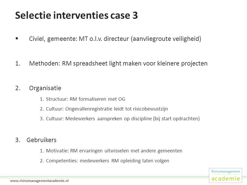 40 www.risicomanagementacademie.nl Selectie interventies case 3  Civiel, gemeente: MT o.l.v.