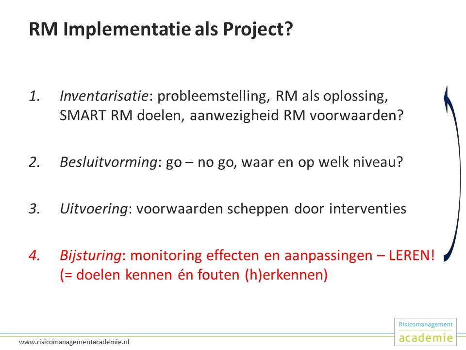 44 www.risicomanagementacademie.nl RM Implementatie als Project.
