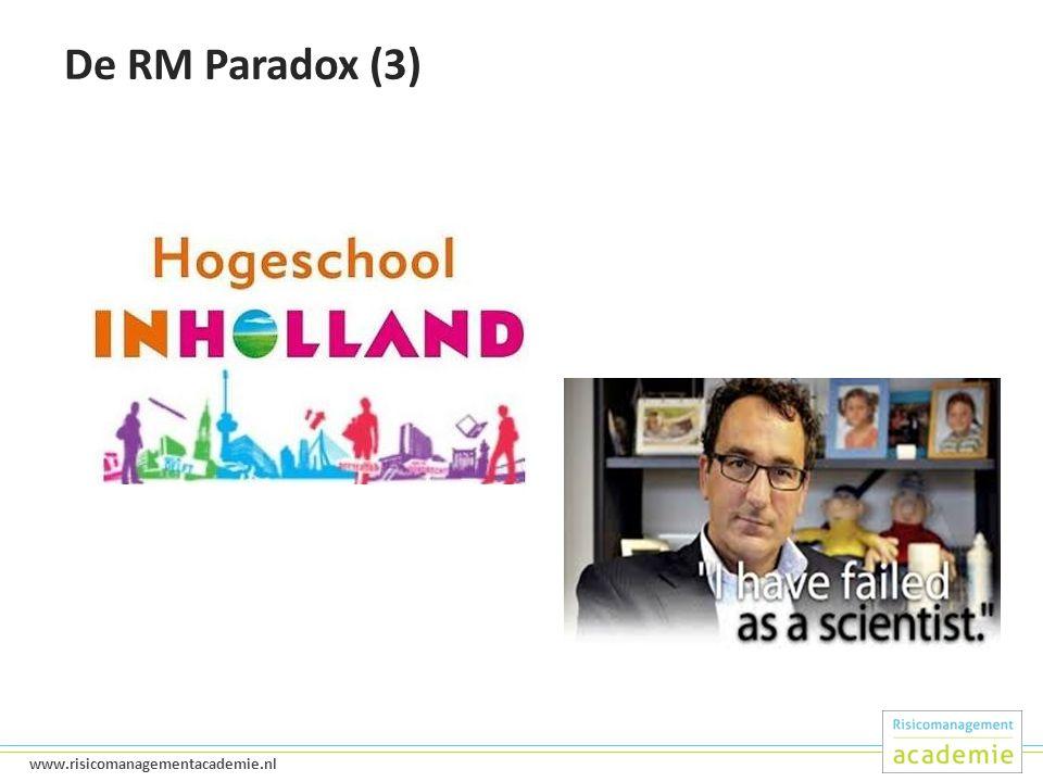 6 www.risicomanagementacademie.nl De RM Paradox (3)