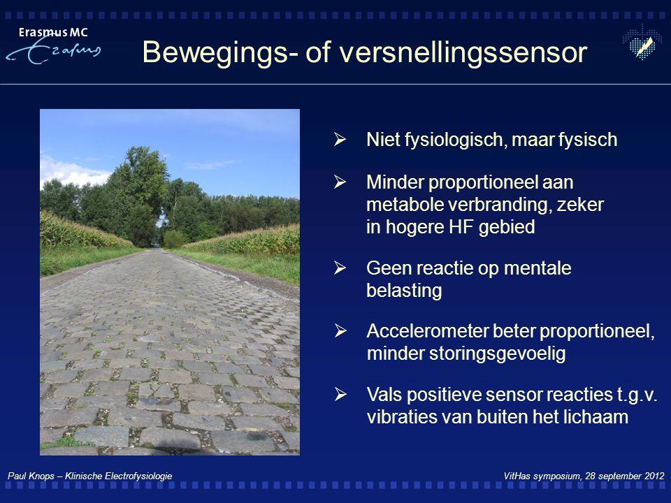 Paul Knops – Klinische Electrofysiologie VitHas symposium, 28 september 2012 Bewegings- of versnellingssensor  Minder proportioneel aan metabole verb