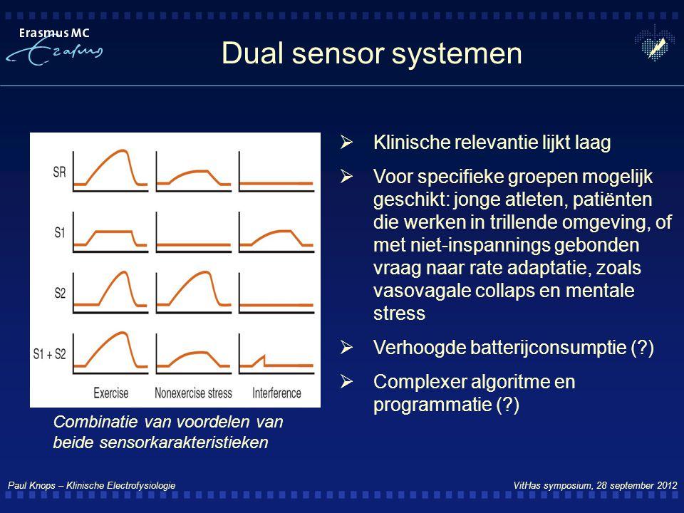 Paul Knops – Klinische Electrofysiologie VitHas symposium, 28 september 2012 Dual sensor systemen  Klinische relevantie lijkt laag  Voor specifieke