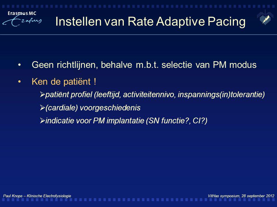Paul Knops – Klinische Electrofysiologie VitHas symposium, 28 september 2012 Instellen van Rate Adaptive Pacing Geen richtlijnen, behalve m.b.t. selec