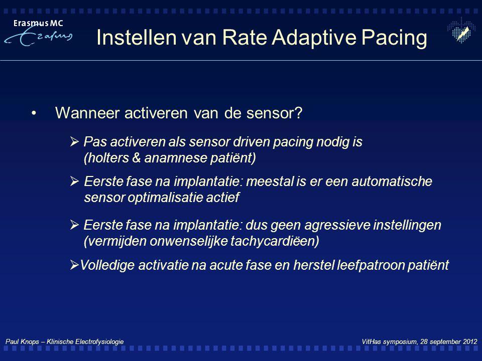 Paul Knops – Klinische Electrofysiologie VitHas symposium, 28 september 2012 Instellen van Rate Adaptive Pacing Wanneer activeren van de sensor?  Pas