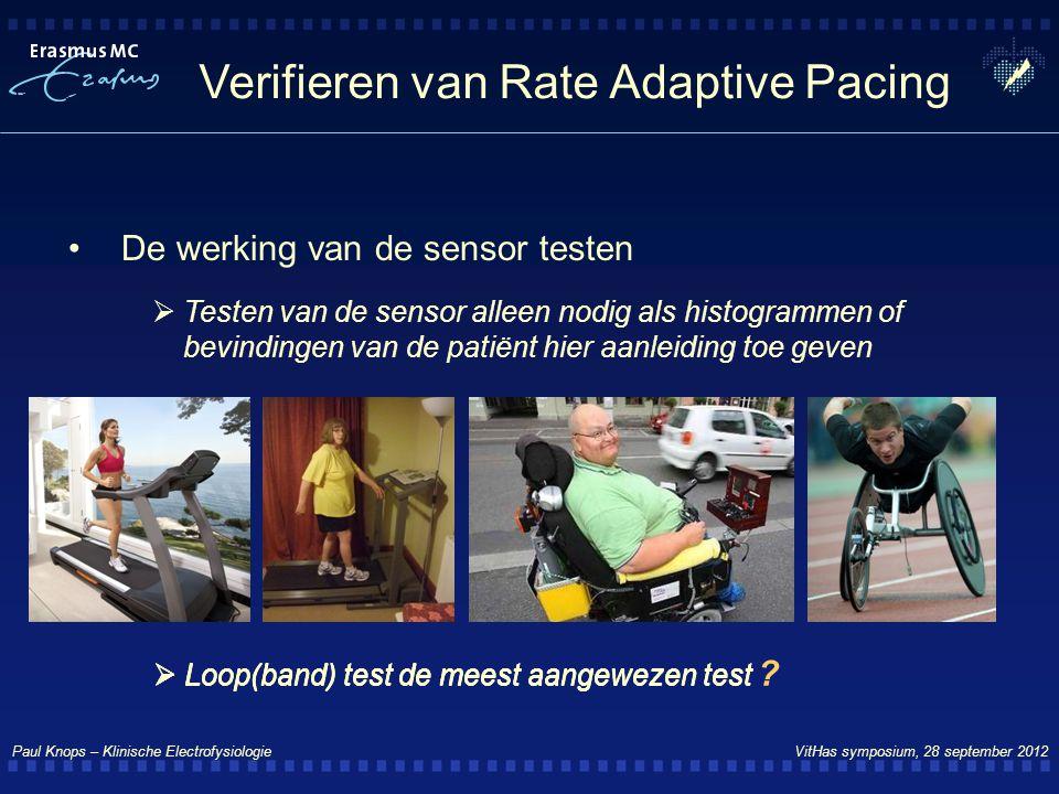 Paul Knops – Klinische Electrofysiologie VitHas symposium, 28 september 2012 Verifieren van Rate Adaptive Pacing De werking van de sensor testen  Tes