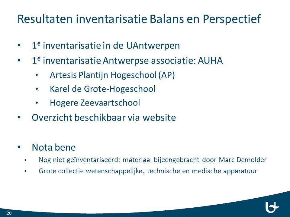 Resultaten inventarisatie Balans en Perspectief 1 e inventarisatie in de UAntwerpen 1 e inventarisatie Antwerpse associatie: AUHA Artesis Plantijn Hog